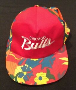 Original Chicago Bulls Vintage Hawaiian Tropical SGA Snapback Hat Vintage Rare