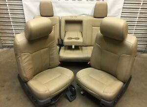 1999-2016 FORD F250 F350 F450 SUPER DUTY FRONT & REAR SEATS TAN LEATHER