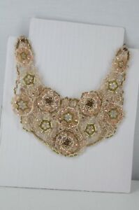 NWT CHICO'S ROSABEL BEADED BIB STATEMENT NECKLACE PINK BLUE NEUTRALS $89