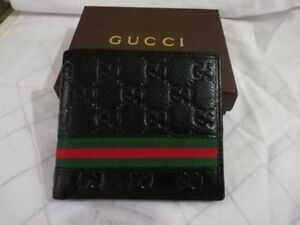 Free Shipping Brand New Gucci Men Web Black Luxury Style Leather Wallet