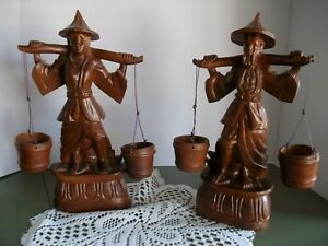 Vintage Korean Carved Wood Statues of Man & Woman With Water Buckets
