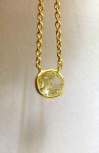 .59CT Canary Yellow Oval Diamond Solitaire 14K Yellow Gold Pendant Necklace
