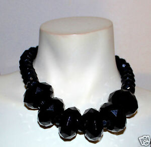 Lydell large faceted black statement necklace