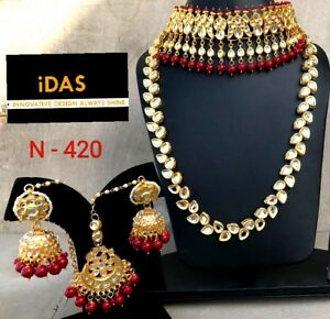 Indian Bollywood Kundan Red Beads Choker Necklace Earrings Tikka Jewelry Set JC