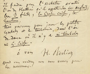 Hector BERLIOZ  Autograph letter signed H Berlioz possibly to Georges Hainl