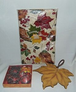 Fall Autumn Leaves Table Cloth Wilton Cookie Cutters Leaf Wall Hanger Lot