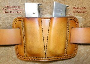 Double MAG POUCH 45acp Single Stack magazine 1911's  Sig P220's  Leather