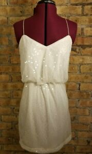 Aidan Matisse White Sequin Cocktail Party Blouson Slip Dress Criss Cross 8*