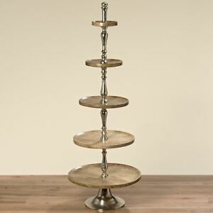 XXL Etagere 65 38in Mango Wood Nickel Plated Silver Cake Dish Fruit Bowl New