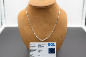 14k White Gold 1.00ct Diamond Tennis Necklace with Lab Certificate
