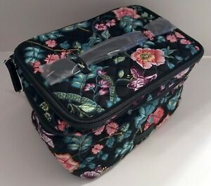 VERA BRADLEY VINES FLORAL ICONIC BRUSH UP COSMETIC CASE 23368-K32 TRAIN TRAVEL