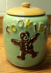Vtg 1950's McCOY Pottery GINGERBREAD MAN Cut Out COOKIE JAR Green  Tan