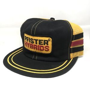 Vintage Pfister Hybrids Patch Snapback Trucker Hat Cap 3 Stripes Pinwheel Gold