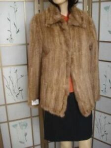 NEW REFURBISHED KNITTED PASTEL MINK FUR JACKET WOMEN WOMAN SIZE 6-8 SMALL