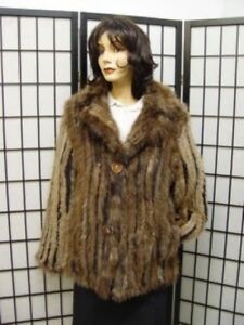 REFURBISHED NEW KNITTED BEAVER & MINK FUR JACKET WOMAN WOMEN SIZE 4-6 petite