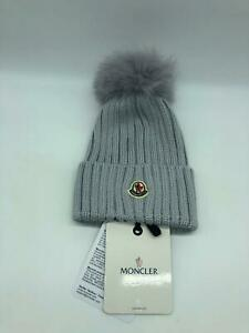 BO NEW AUTHENTIC MONCLER RIBBED KNIT BEANIE HAT WFUR POMPOM COLOR GREY