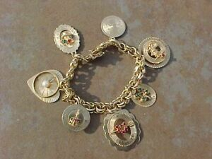 ORIGINAL 1950s 14K GOLD CHARM BRACELET WITH 7 LARGE CHARMS