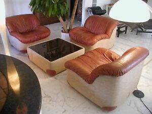 Mid Century Leather Chairs with Coffee Table Saporiti De Sede style era