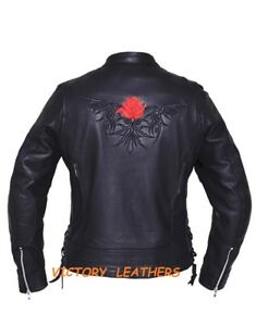 Ladies Leather Jacket with Reflective Tribal Rose ( 6801.01 ) Red Ladies Coats