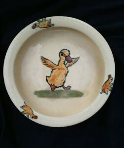 "Antique Weller Pottery 7"" Dish edged Bowl with Ducks Majolica Rare USA Vintage"