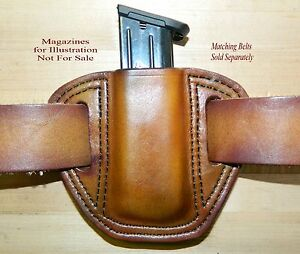 Leather MAG POUCH for 9mm .40 Double Stack magazine fits Ruger SR9SR40 Mags