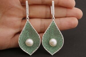 Turkish Jewelry Round Cut Pearl Emerald Zircon 925 Sterling Silver Earrings
