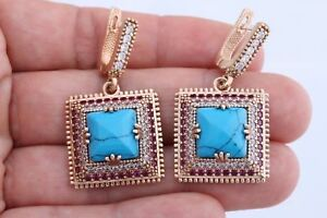 Turkish Jewelry Square Cut Turquoise Ruby Topaz 925 Sterling Silver Earrings