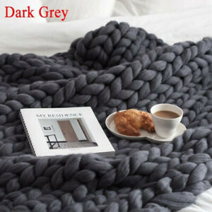 Hand Chunky Knitted Sofa Blanket Wool Bulky Throw Winter Thick Yarn Soft Bedding