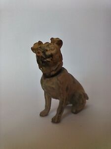 Antique Metal Bronze? Pug Dog Nodder Hand Painted & Marked Germany 2