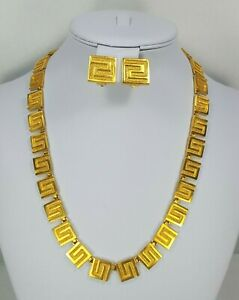 Egyptian Revival Gold Plated Necklace Earrings Set Heritage Museum Replicas HMR