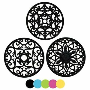 ME.FAN 3 Set Silicone Multi-Use Intricately Carved Trivet Mat - Insulated Flexib