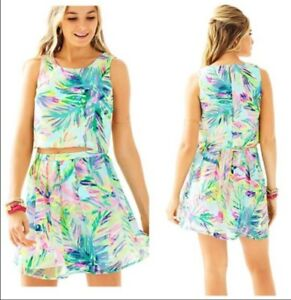 "Lilly Pulitzer Hilah in Multi ""Island Time"" 2 piece Skirt and Top Set Size 4"