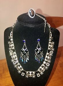 RARE & RETIRED SORRELLI MIDNIGHT MOON BLACK ONYX NECKLACE EARRINGS RING SET