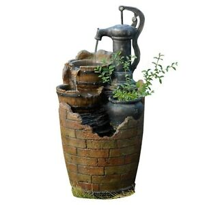 Cascading Water Fountain Old Fashioned Water Pump Buckets Rustic Planter Outdoor