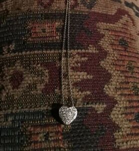 EFFY 14k white gold and diamonds heart pendant necklace With Faux EFFY Suede Bag