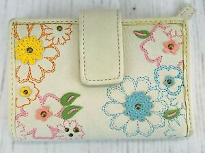 Women Fossil Genuine Leather Wallet Bifold Ivory Off White Flowers Floral