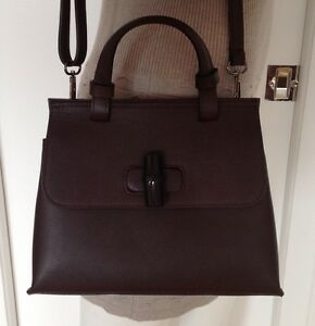 DESIGNER INSPIRED BAMBOO DAILY DARK BROWN LEATHER TOP HANDLE HANDBAG