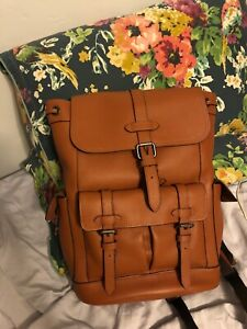 Coach Men's Hudson Backpack BROWN Natural Pebble Leather F36811 MSRP $695 new
