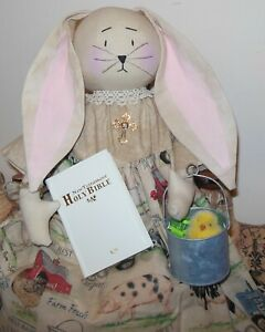 Primitive Folk Art Farmhouse Easter Bunny Doll Bible Cross Little Chick!