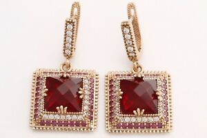 Turkish Hurrem Jewelry Square Cut  Ruby Topaz 925 Sterling Silver Earrings