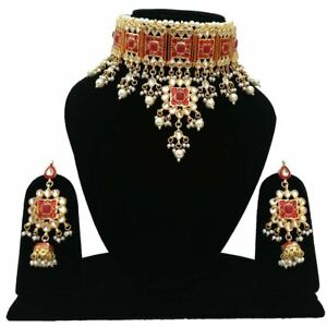 Indian Kundan Bollywood Red Stone Choker Necklace Earrings Jewelry Set