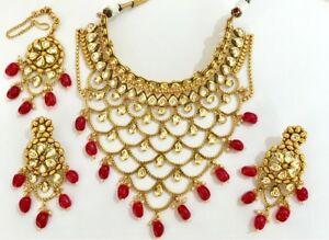 KUNDAN Gold plated Ruby red  Choker NECKLACE EARRING TIKKA SET BOLLYWOOD