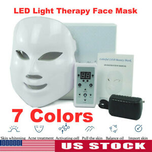 NEW LED Light Photon Face Neck Mask Rejuvenation Skin Therapy Wrinkles 7 Colors