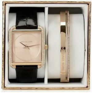 MICHAEL KORS LAKE Rose Gold & Black Leather Watch & Bracelet Gift Set