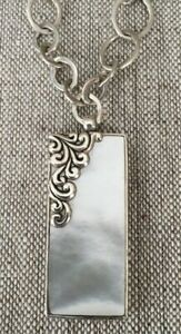 Lois Hill Shell Pendant & Chain with Scroll Design Sterling Silver