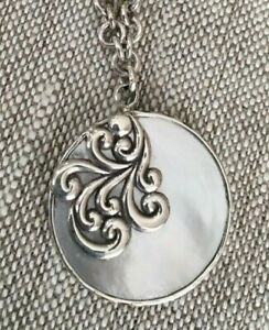 Lois Hill Natural Shell Pendant with Scroll Design Sterling Silver