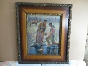 20x16 org 1925 oil painting on canvas signed JH Sharp of Indian Village on River