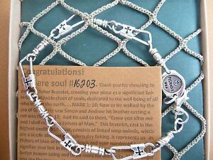 Acts Bracelet Original WCross Cut Out Fishers Of Men 950 Sterling Silver New