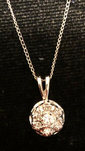 NECKLACE DIAMOND round PENDANT & CHAIN 14K White GOLD WG 7 Diamonds .21 cts. 15