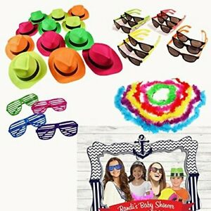 Party Photo Booth Props Kit - Sets of 24 Hats Sunglasses & Feather Boas for...